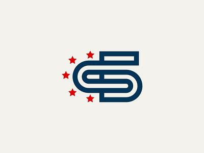C5 letter america flag monogram logo c5