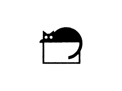 Black Cat illustration drawing box animal feline cat black