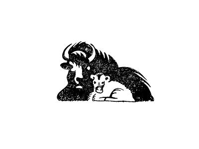 Bison hand texture nature brand illustration baby drawing logo sketch animal buffalo bison