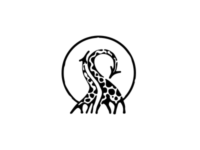 Giraffes black ink drawing tattoo nature space negative illustration logo giraffe affrica animal