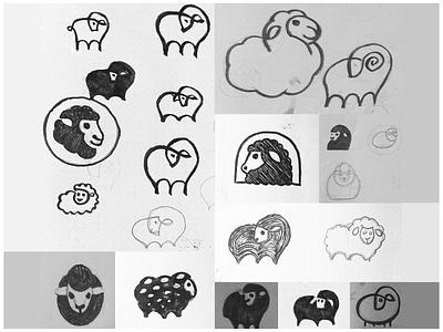 Sheep line nature animal hand illustration drawing wip cocnept logo sketch lamb sheep