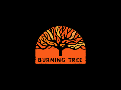 Burning Tree color texture logo forest nature tree burn fire