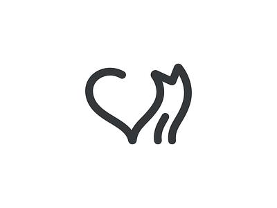 Cat <3 shape symbol abstract illustration drawing lineout line logo pet heartmanimal love cat