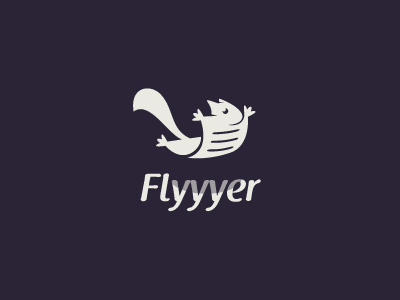 Flyyyer fly flyer squirrel animal logo cute paper tail stevan sky