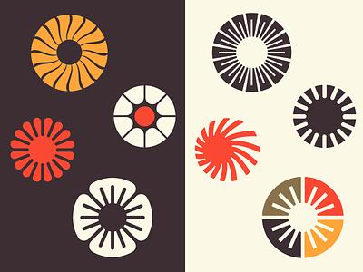 Sunproject symbol shape icon color bold flower logo summer sun
