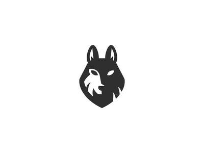 Wolf wolf animal head simple logo forest negative space