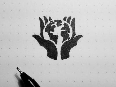 Hand Globe hand globe care logo negative space world nature symbol sketch
