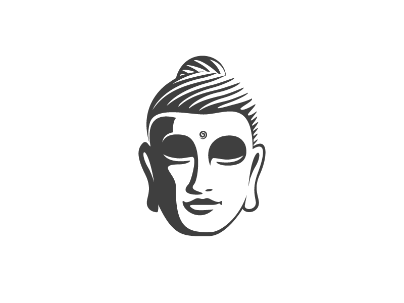 Gautama 1 buddha gautama head logo illustration negative space calm peace