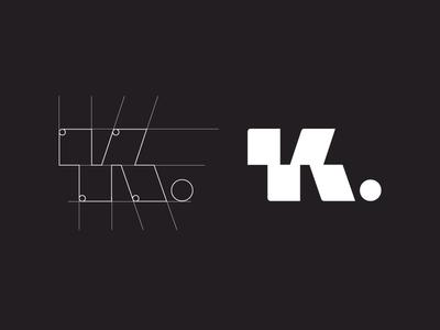 K. publishing square grid form simple print book publish symbol logo icon letter k