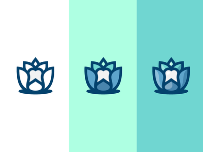 Lotus / Dent zen lilly water line icon logo medical flower tooth dent lotus