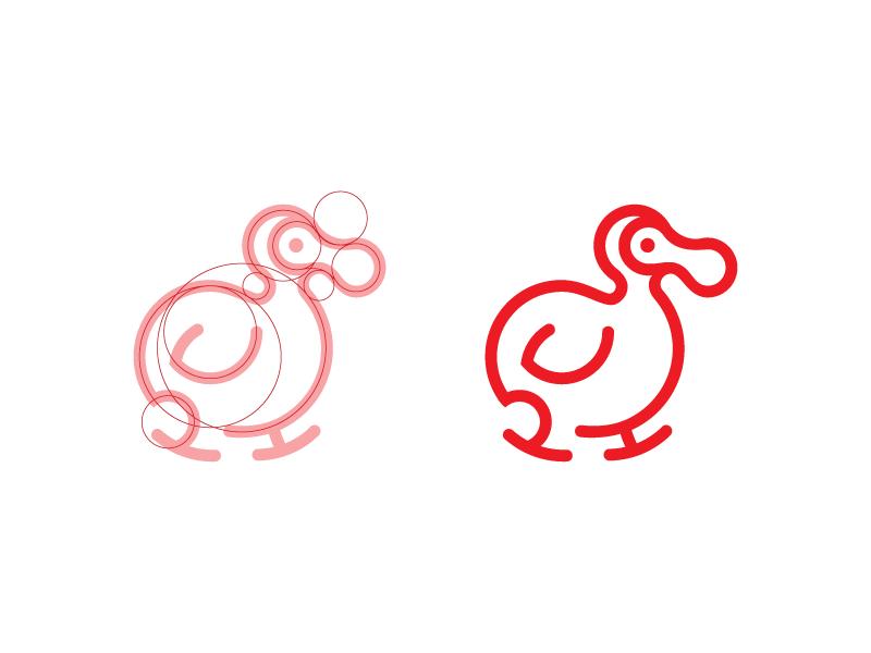 Dodo circle grid outline logo animal bird dodo