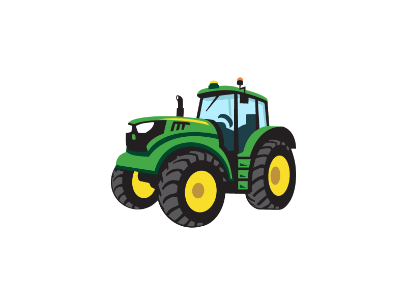 Up The Tractor Green Tractor With Bucket Cartoon : John deere illustration by stevan rodic dribbble