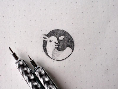 Lamb space negative pencil sketch cute icon logo circle animal sheep lamb