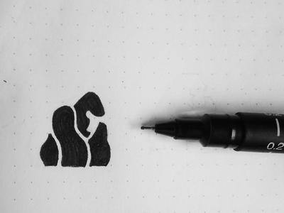 Gorilla ape simple space negative sketch logo monkey animal gorilla