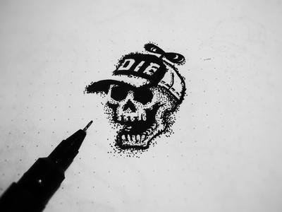 Die 1 cap sketchbook ink logo drawing draw dot sketch skull die