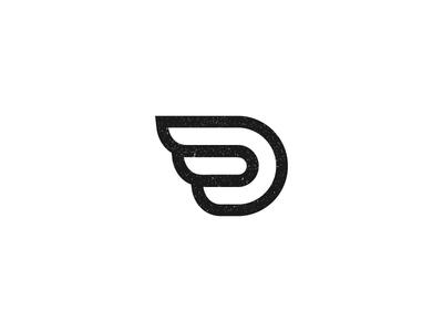 D Wing moto texture lineout speed wing letterd logo monogram symbol letter d