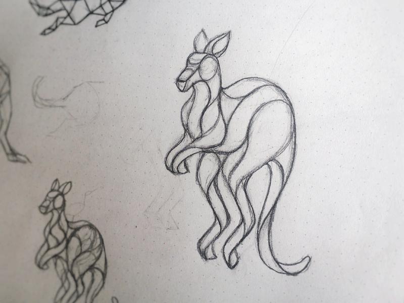 Kangoo Sketch illustration geometric polygonal poly lineart outline line sketch australia animal kangaroo