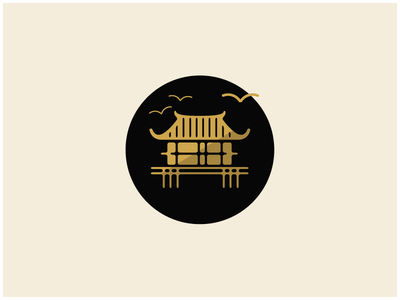 House traditional illustration gold east birds japan house