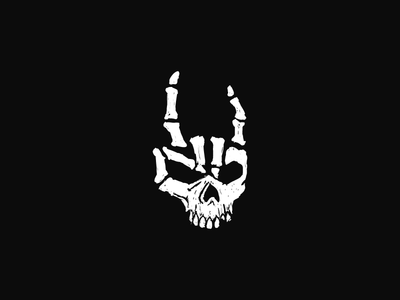 symbol devil horns rock rnr bones skull symbol hand