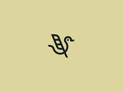 Duck Pen line simpe animal logo feather pen duck