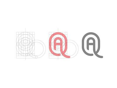 AQ symbol logomark mark letter logo grid construction monogram aq