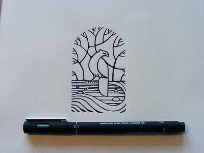 Nature Sketch hawk line drawing pencil paper illustration skecth field river tree bird nature