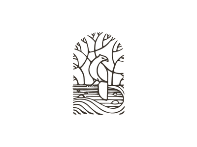 Nature illustration logo monochrome tree lineout river hawk bird nature
