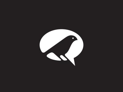 Birdy weaver sparrow space negative icon talk speach bubble logo animal social bird
