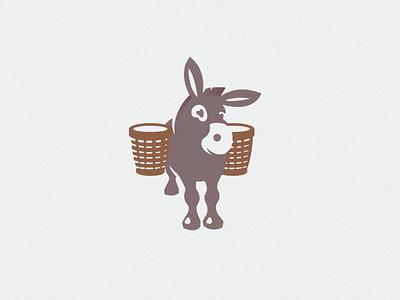 Donkey basket color logo illustration animal donkey