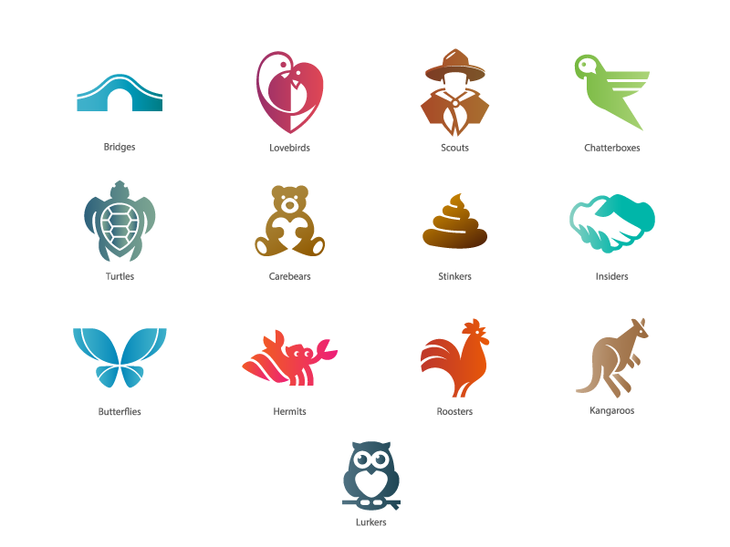 Icons Set hand hermit owl kangaroo butterfly bear turtle parrot rooster animal bridge icon