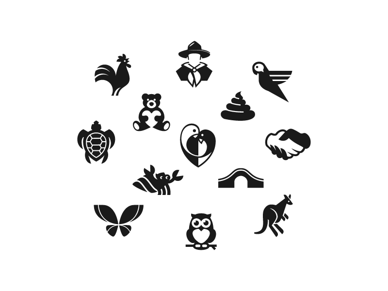 Icons BW hand hermit owl kangaroo butterfly bear turtle parrot rooster animal bridge icon