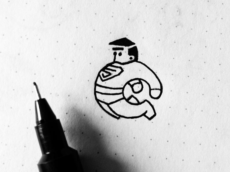 Superman paper black ink drawing sketch superman