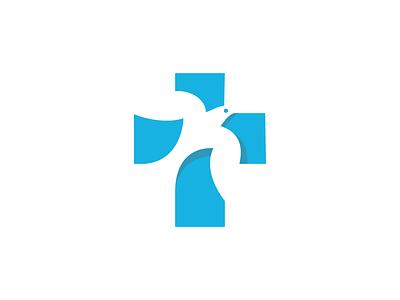 Dove god symbol icon space negative logo faith religion cross dove