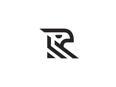 R - Eagle r letter mark simple techy animal line stripe logo hawk bird eagle
