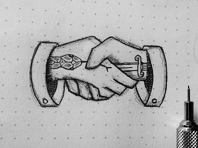 Deal ! sketch drawing illustration knife blade dagger posion snake jandshake hand deal