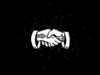 Deal ink hand illustration knife snake handshake deal