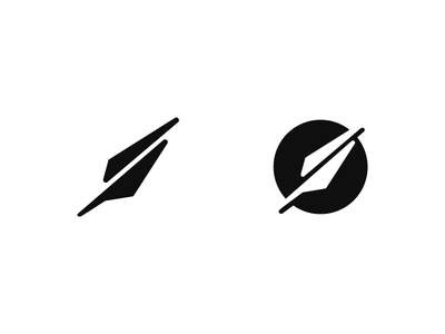 Quill writting pen circle simple shape icon logo symbol quill