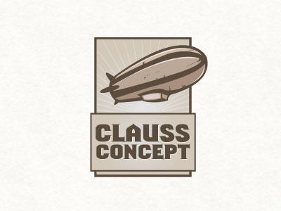 Clauss Concept dirigable zeppelin fly machine sky vintage retro logo emblem sephia air baloon