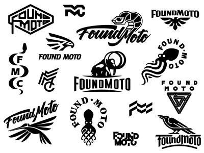 Found Moto concepts monogram symbol fmc eagle crow hummingbird mammoth snake animal logo bike foundmoto