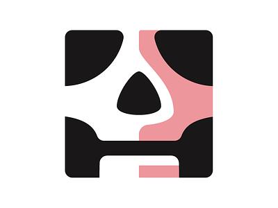 Skull Cube simple bones logo skull