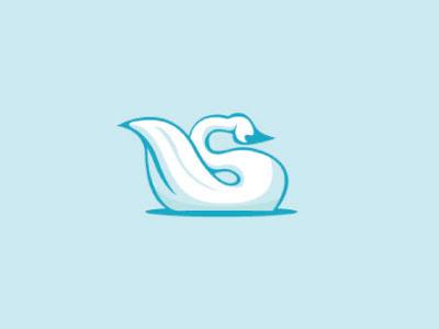 Swan s swan feather beak fly animal logo steva blue curve water swim wing nech