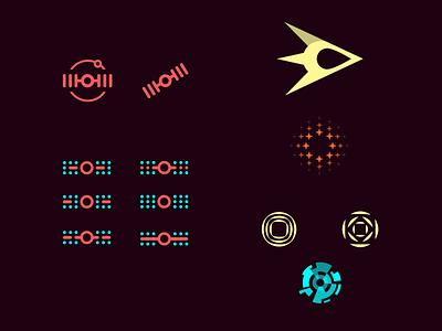 Space Program vintage color cosmos star icons illustration rocket ship space