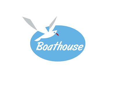 Boathouse bird seagull sea marine logo boat