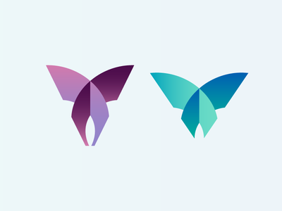Butterfly icon gradient color insect animal wings logo butterfly