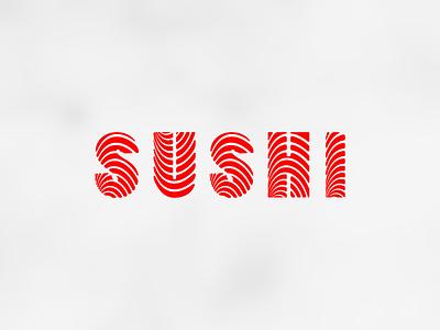 Sushi typeface type logo meat salmon japan food sushi
