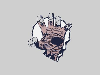 Hand Skull drawing texture sketch bones illustration skull hand