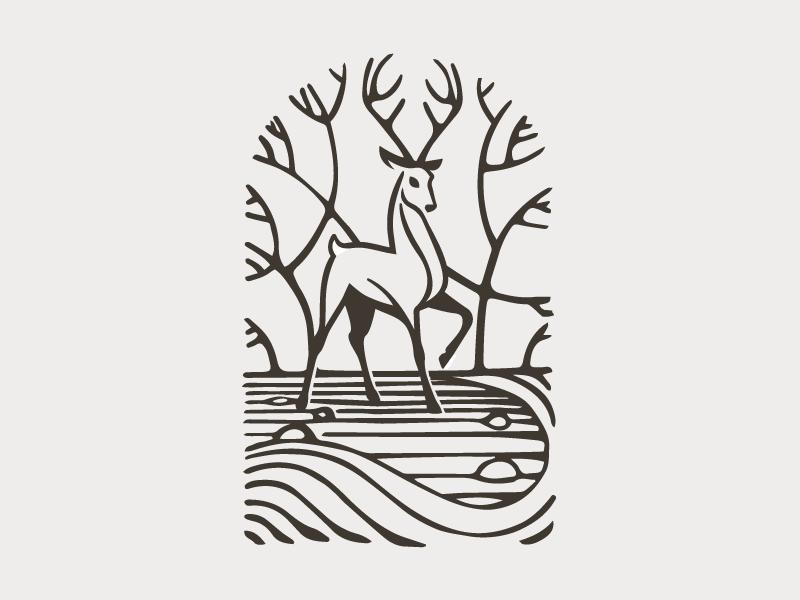 Scenic animal organic river illustration buck antlers tree landmark deer nature