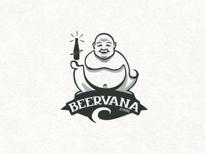 Beervana beer buddha logo line steva retail drink fresh bottle nirvana body