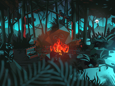 Danny Jungle forest snake tiger animals fire drawing creature night illustration artwork jungle danny