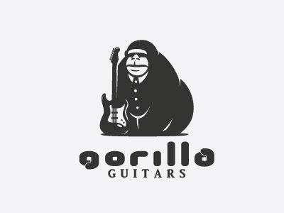 Gorilla Guitars gorilla jungle animal strenght guitar music logo steva s